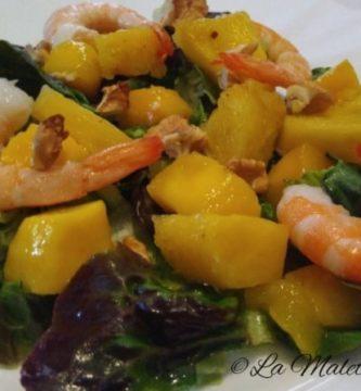 ensalada de mango y langostinos