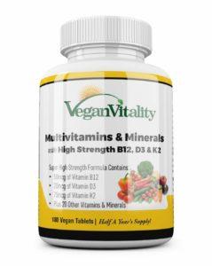 Multivitaminas y minerales veganos con vitamina
