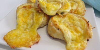Rollitos de hojaldre con jamón y queso